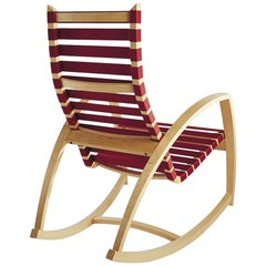 Plybent Rocking Chair with Red Strap Seat Handcrafted in the USA