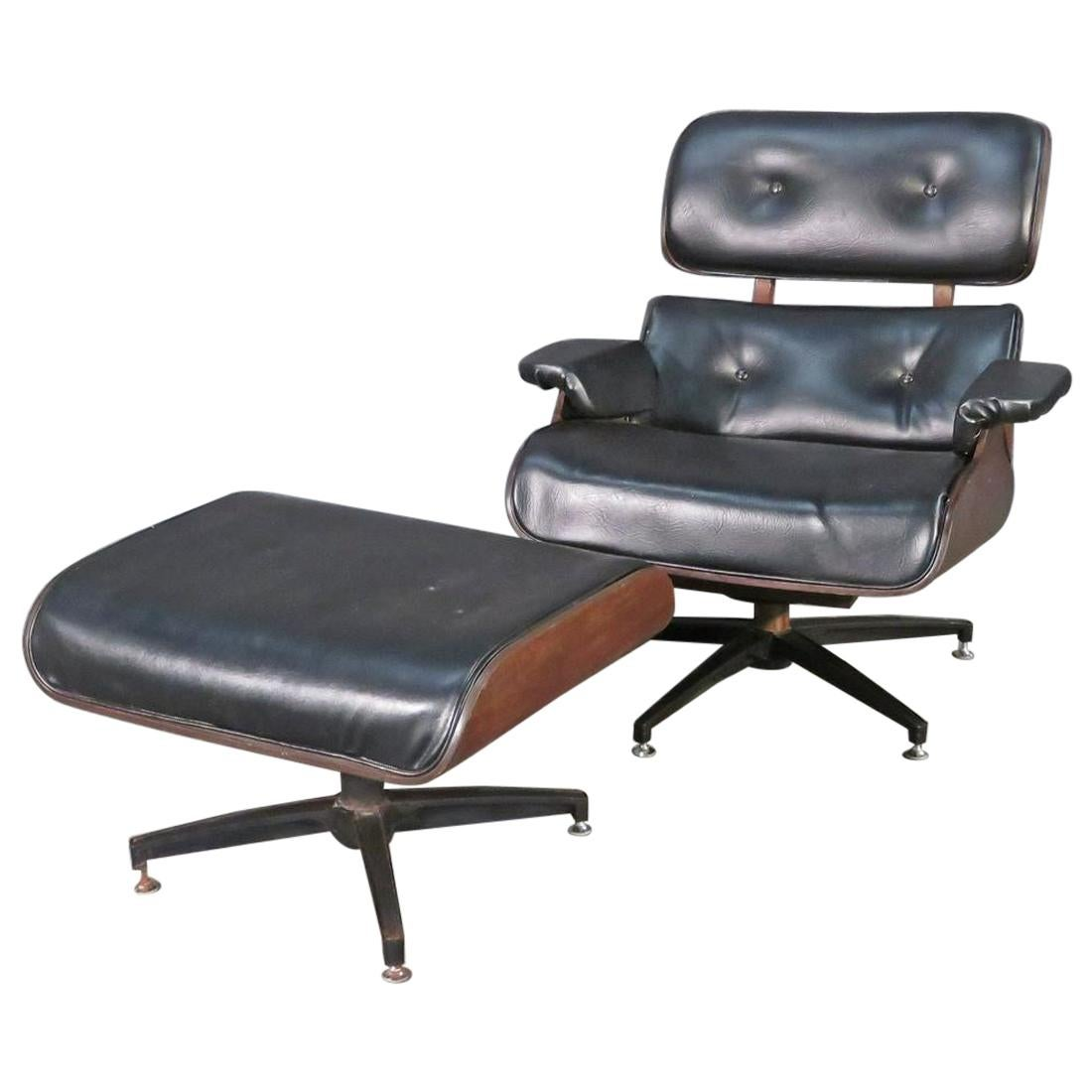 Plycraft Eames Style Lounge and Ottoman
