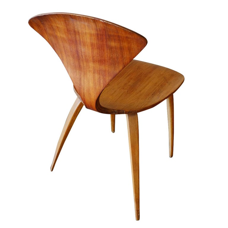 Mid-Century Modern Plycraft Sculptural Dining Chairs by Norman Cherner, Set of Four For Sale
