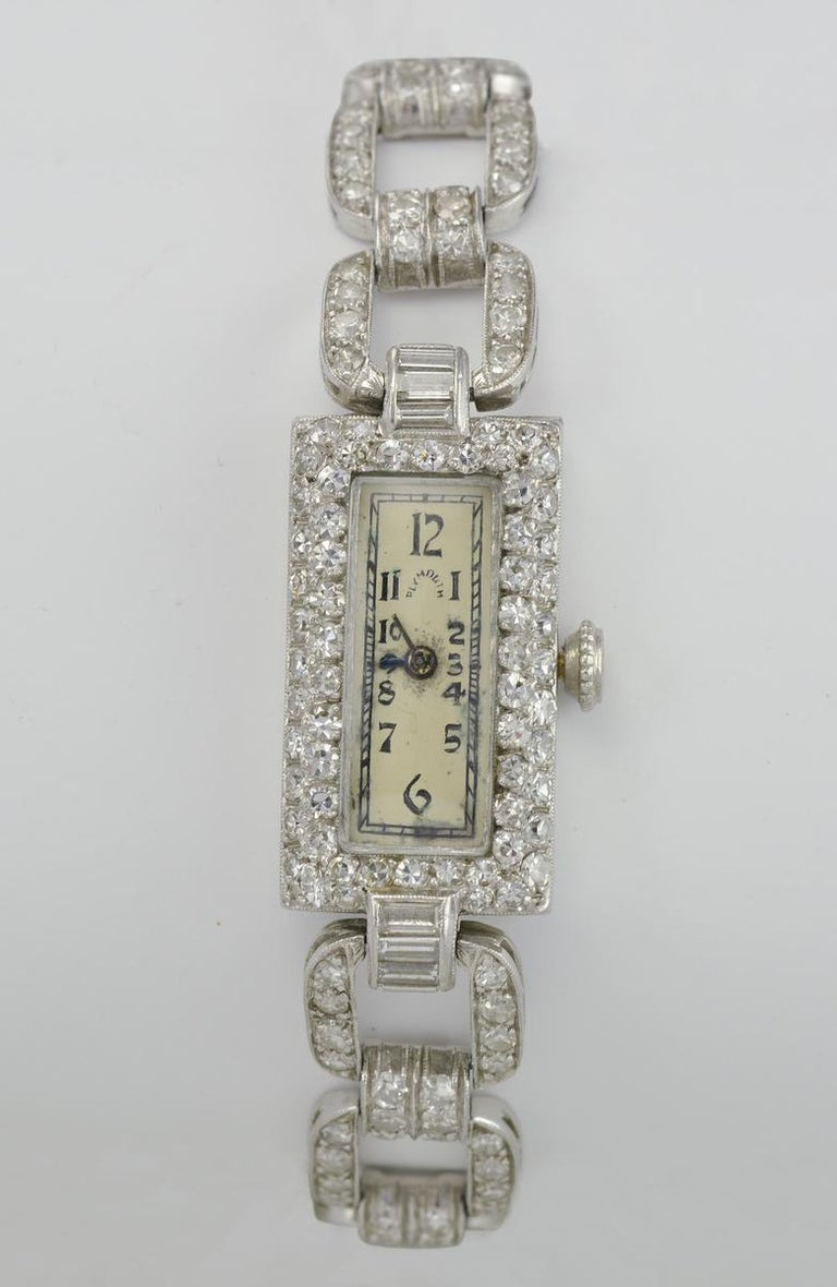 Plymouth Watch Co. Ladies Antique Platinum and Diamond Wristwatch In Good Condition For Sale In Laguna Beach, CA