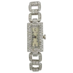 Plymouth Watch Co. Ladies Antique Platinum and Diamond Wristwatch