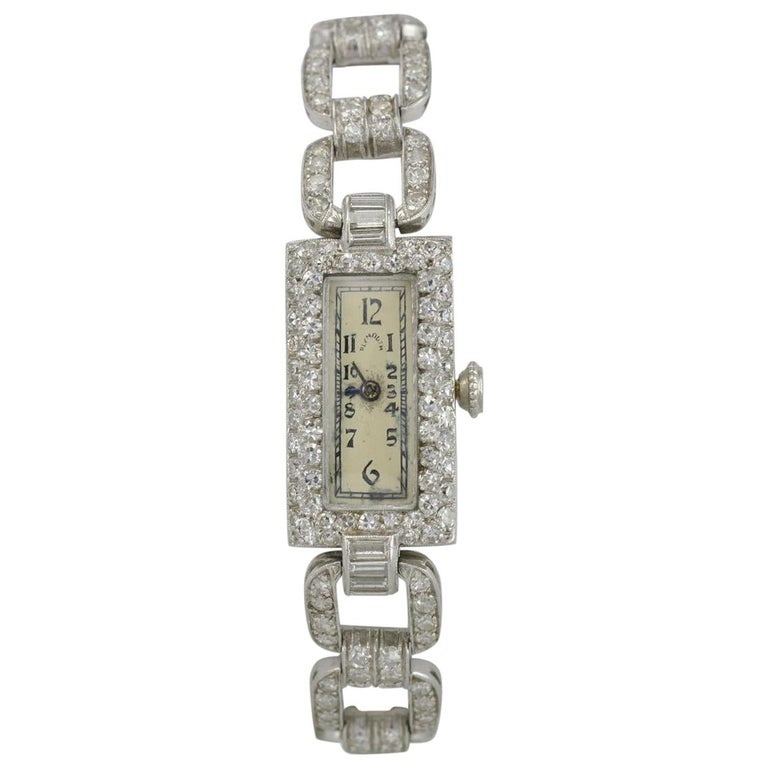 Plymouth Watch Co. Ladies Antique Platinum and Diamond Wristwatch For Sale