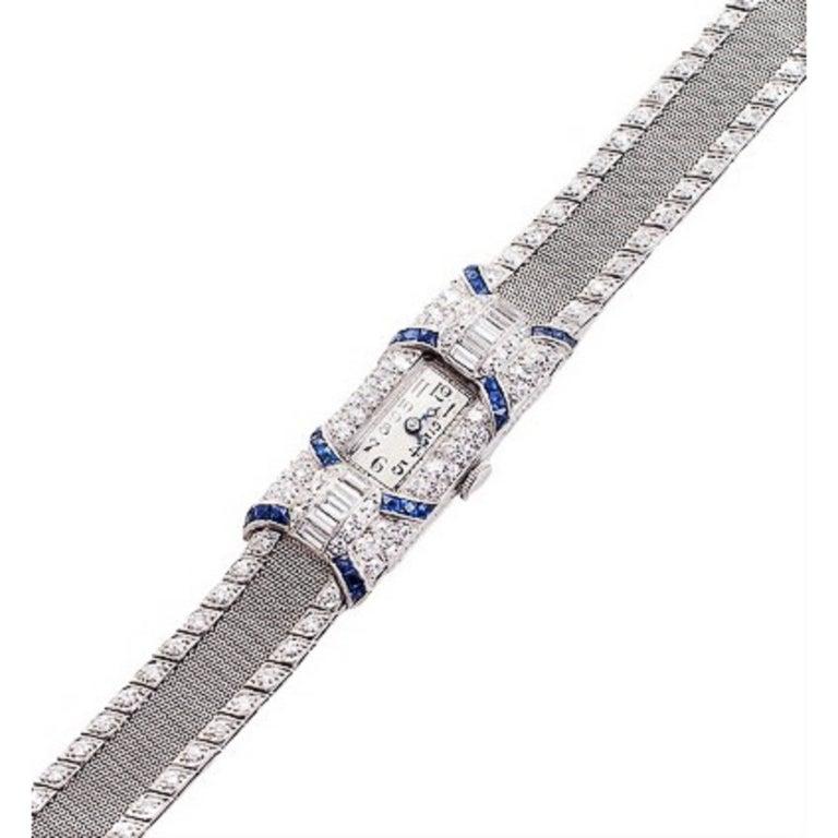 Plymouth Watch Co. Ladies Platinum Diamond Sapphire Wristwatch