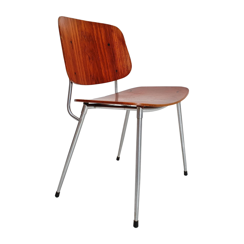 Plywood and Steel Chair by Børge Mogensen, Søborg Møbelfabrik, Denmark, 1953
