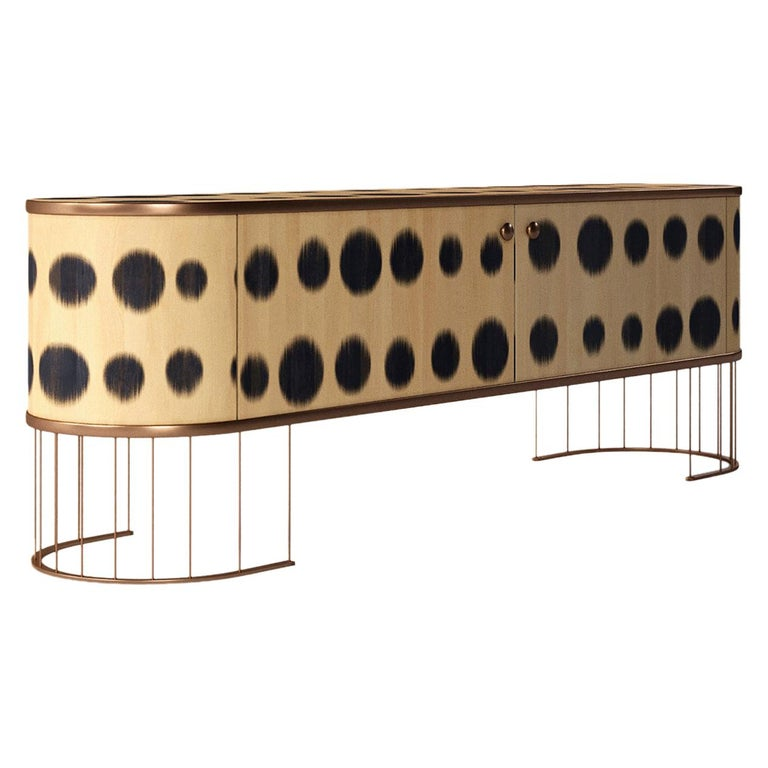 Plywood Sideboard with the Brass Legs, Bugs Collection, for Bright Interior For Sale