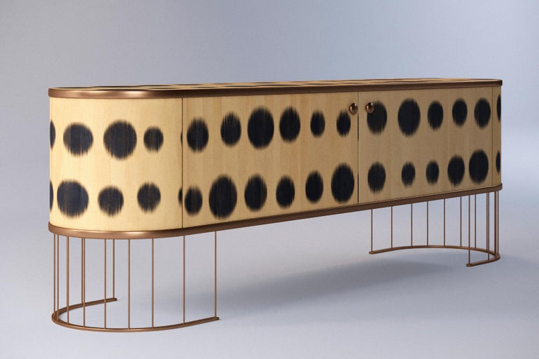 Art Deco Plywood Sideboard with the Brass Legs, Bugs Collection, for Bright Interior For Sale
