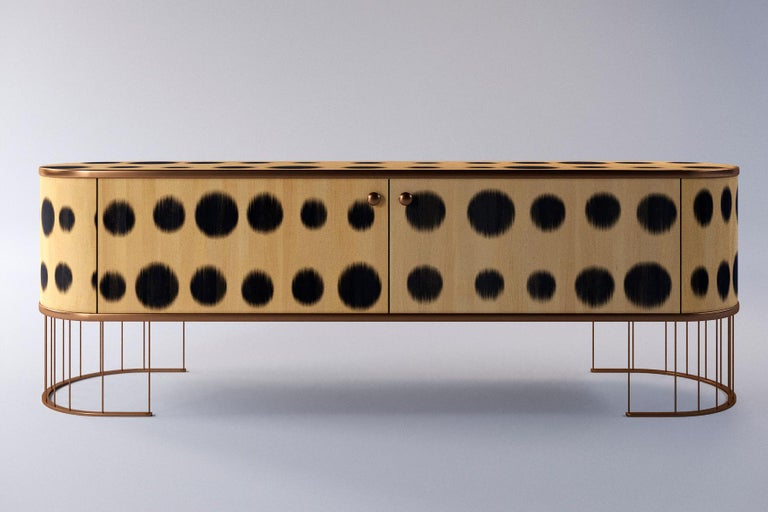 Ukrainian Plywood Sideboard with the Brass Legs, Bugs Collection, for Bright Interior For Sale