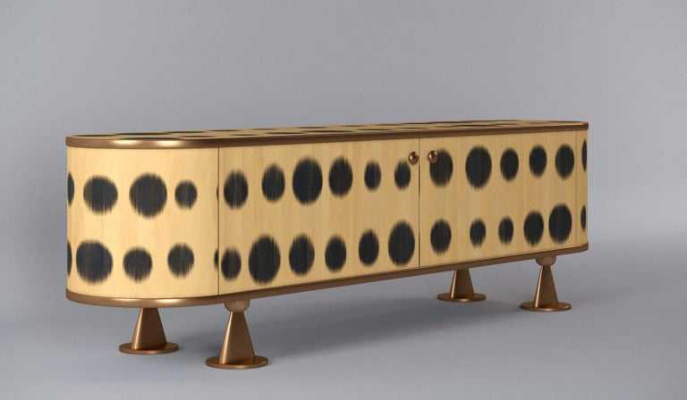 Other Plywood Sideboard with the Brass Legs, Bugs Collection, for Bright Interior For Sale