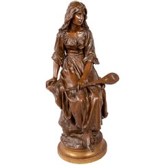P.Mengin Large Bronze Statue of a Girl with a Mandolin