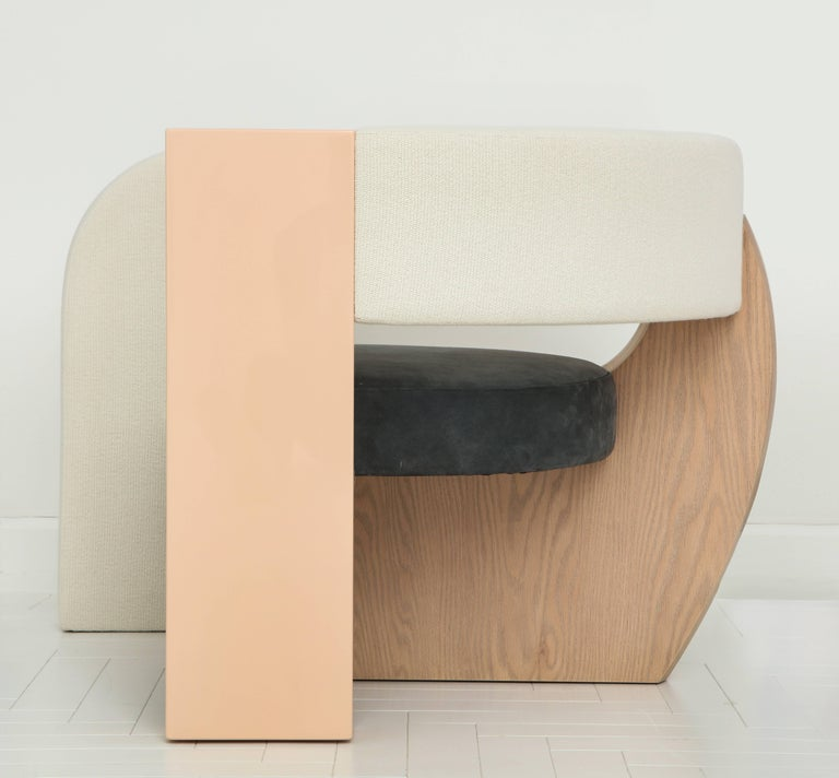 PnKrck Armchair by Kelly Behun & Narciso Rodriguez in Linen Suede, Lacquered Oak For Sale 4