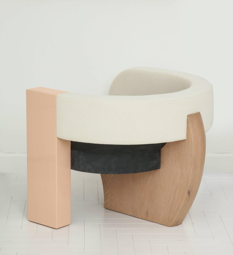 Contemporary PnKrck Armchair by Kelly Behun & Narciso Rodriguez in Linen Suede, Lacquered Oak For Sale