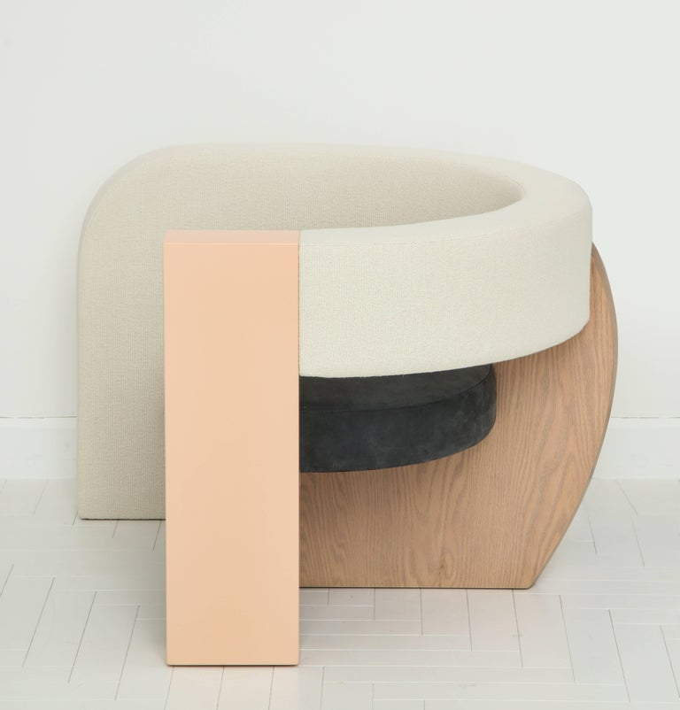 PnKrck Armchair by Kelly Behun & Narciso Rodriguez in Linen Suede, Lacquered Oak For Sale 1