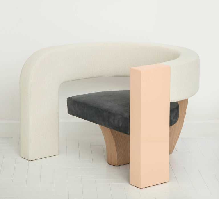 PnKrck Armchair by Kelly Behun & Narciso Rodriguez in Linen Suede, Lacquered Oak For Sale 2