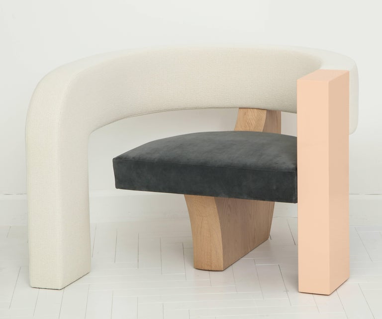 PnKrck Armchair by Kelly Behun & Narciso Rodriguez in Linen Suede, Lacquered Oak For Sale 3