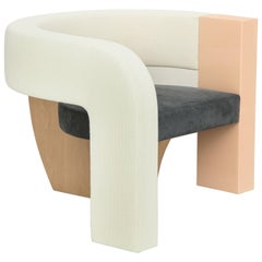 PnKrck Armchair by Kelly Behun & Narciso Rodriguez in Linen Suede, Lacquered Oak