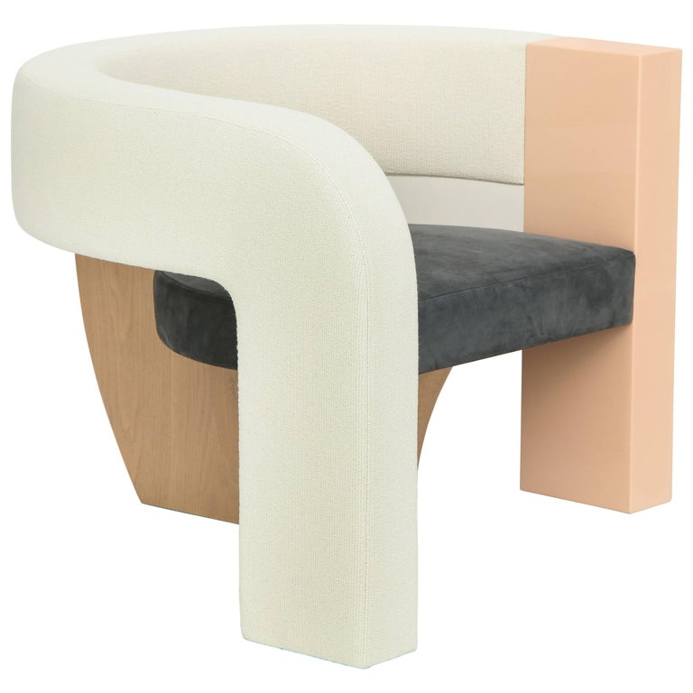 PnKrck Armchair by Kelly Behun & Narciso Rodriguez in Linen Suede, Lacquered Oak For Sale