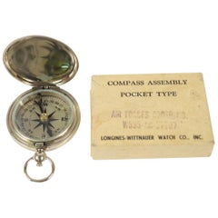 Pocket Compass Chromed Brass USA Aviation WWII