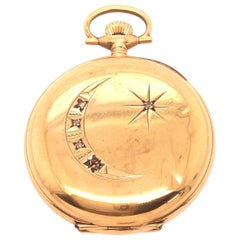 Pocket Watch American Waltham Company 14 Karat Yellow Gold and Diamond