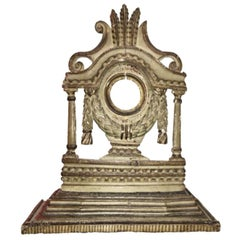 Pocket Watch Stand, 18th Century French, Carved Polychrome