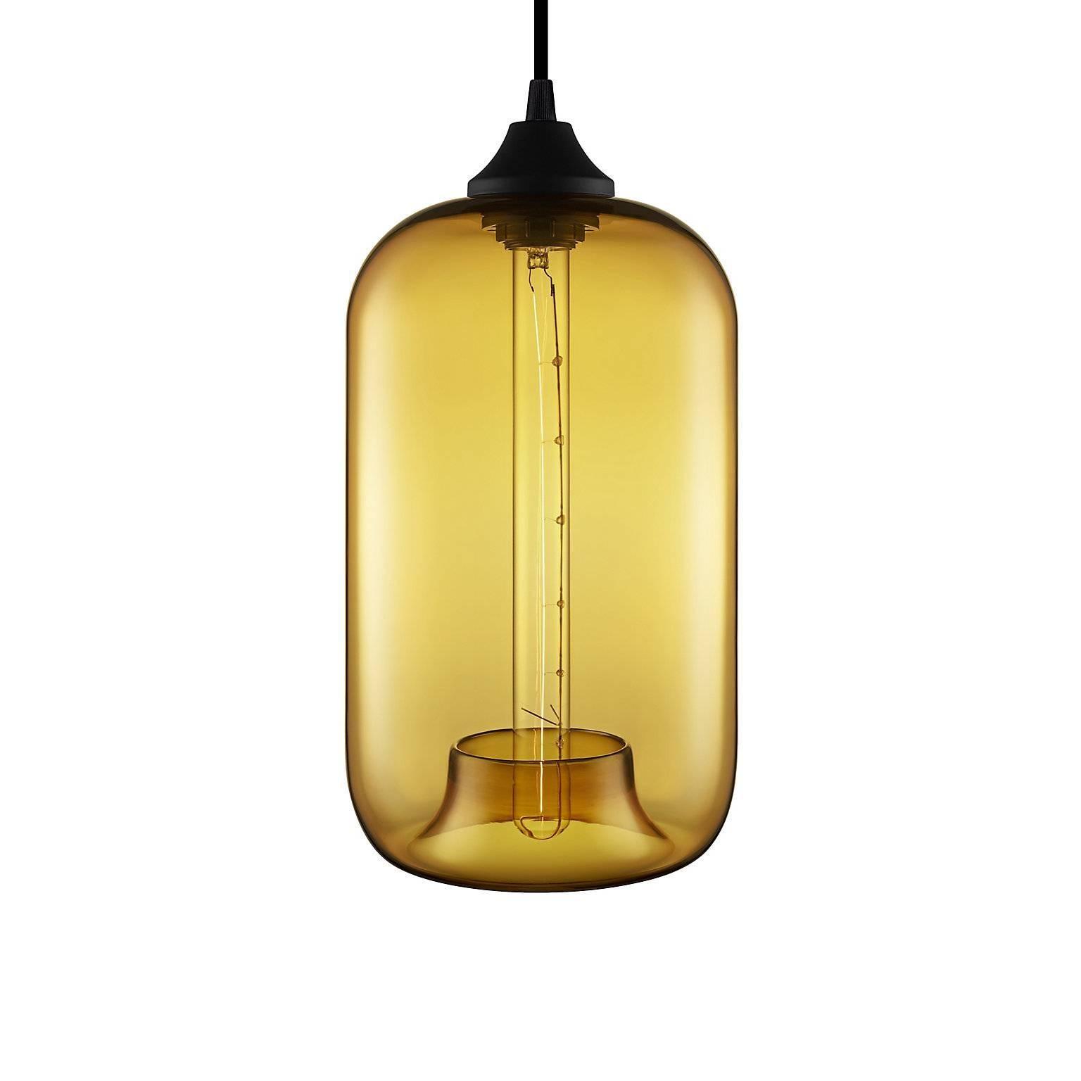 Pod Amber Handblown Modern Glass Pendant Light, Made in the USA