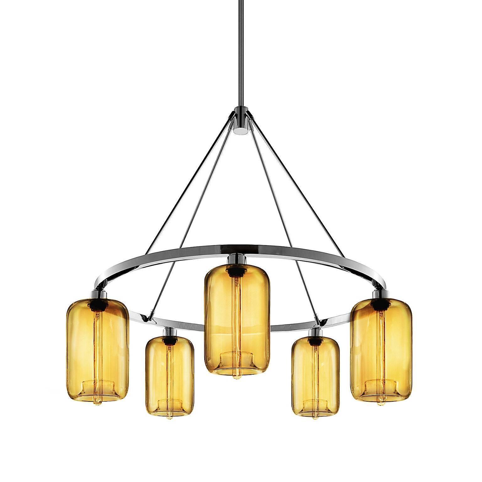 Pod Amber Handblown Modern Glass Polished Nickel Chandelier Light