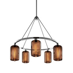Pod Chocolate Handblown Modern Glass Polished Nickel Chandelier Light