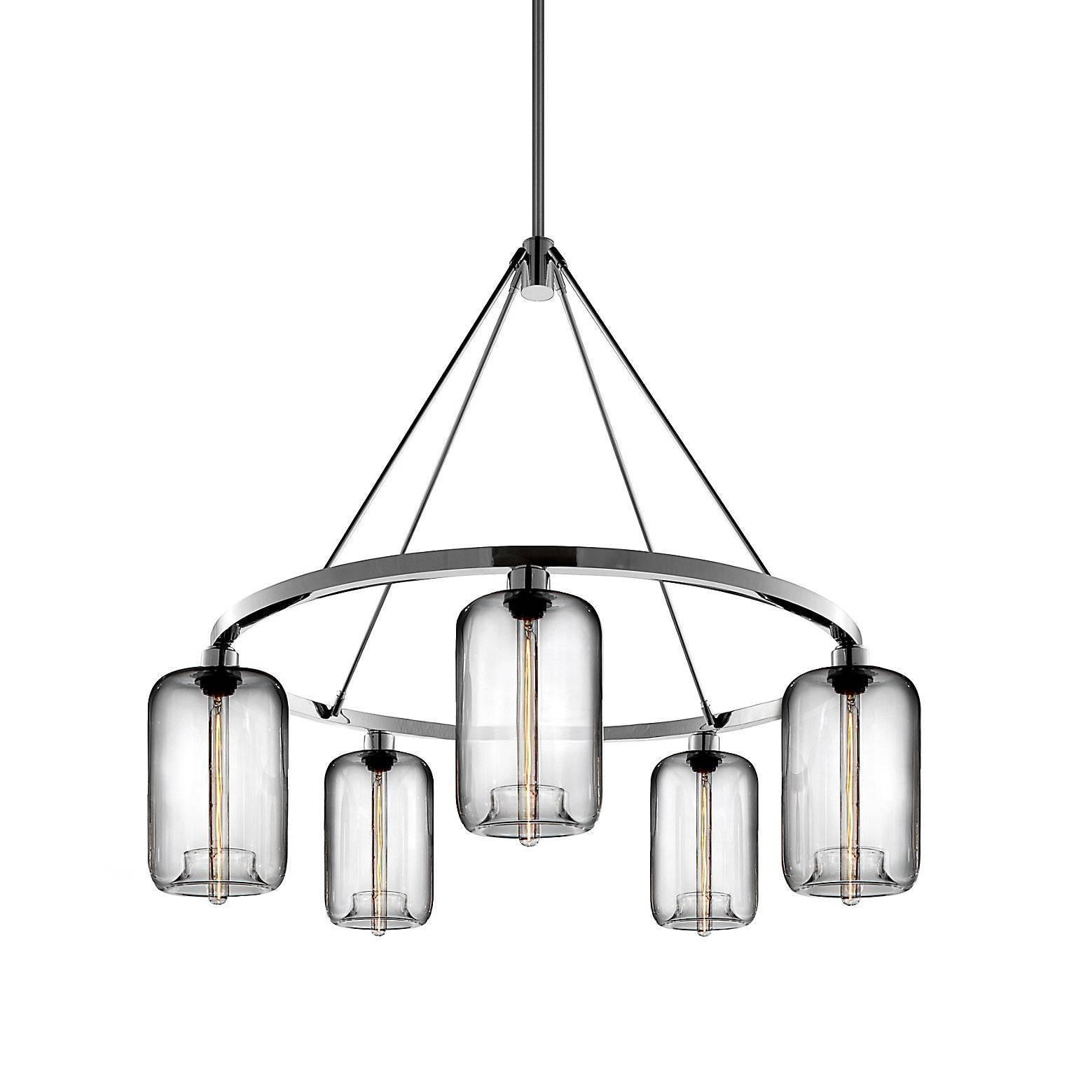 Pod Crystal Handblown Modern Glass Polished Nickel Chandelier Light