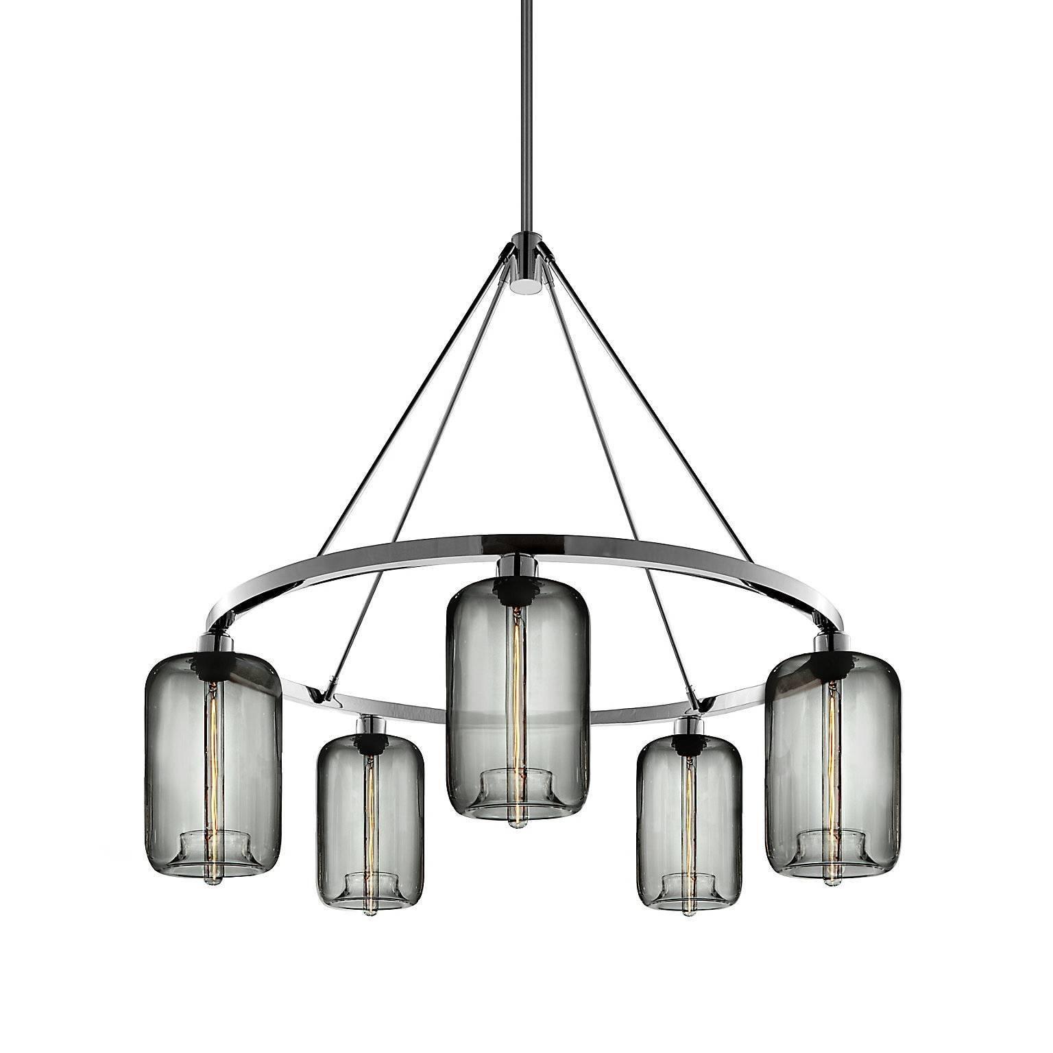 Pod Gray Handblown Modern Glass Polished Nickel Chandelier Light, Made in USA
