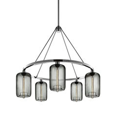 Pod Gray Handblown Modern Glass Polished Nickel Chandelier Light, Made in USA