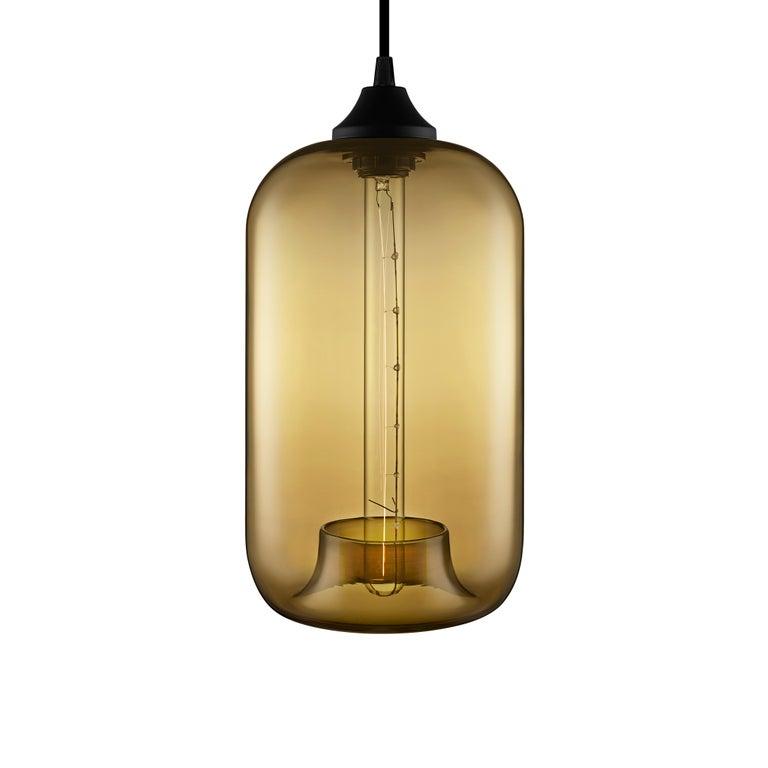 American Pod Plum Handblown Modern Glass Pendant Light, Made in the USA For Sale