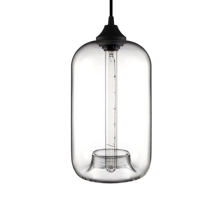 Contemporary Pod Plum Handblown Modern Glass Pendant Light, Made in the USA For Sale