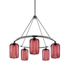 Pod Plum Handblown Modern Glass Polished Nickel Chandelier Light, Made in the US