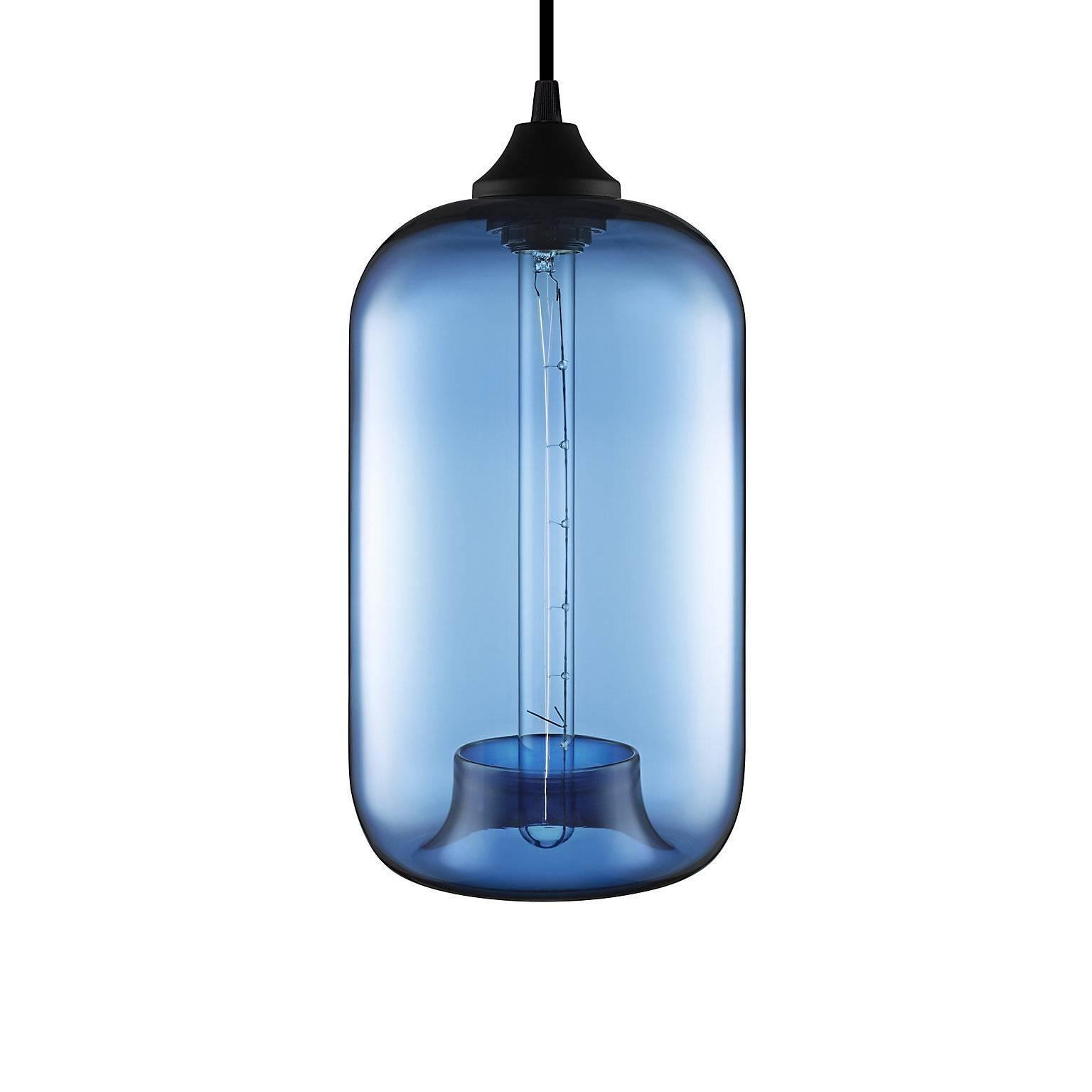 Pod Sapphire Handblown Modern Glass Pendant Light, Made in the USA