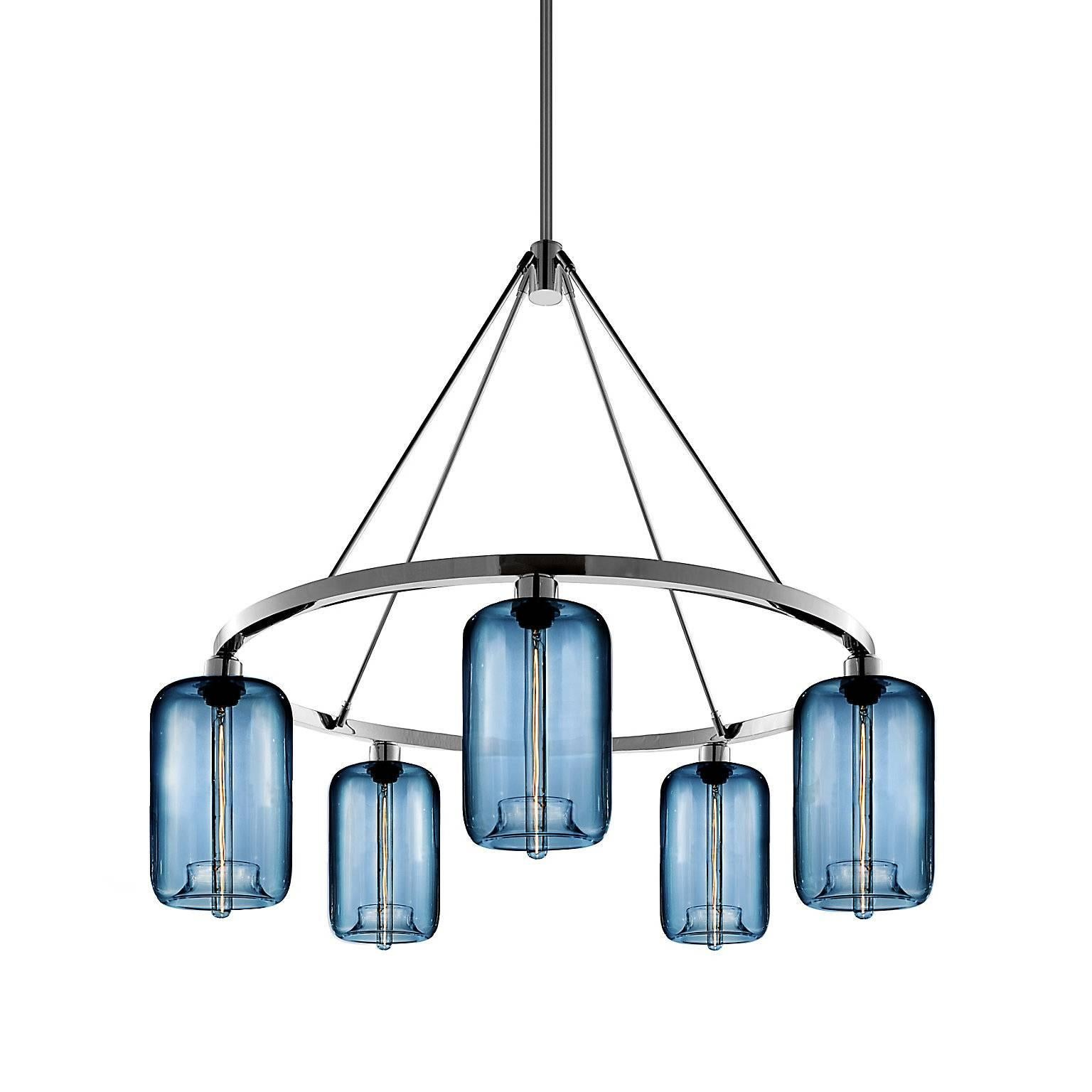 Pod Sapphire Handblown Modern Glass Polished Nickel Chandelier Light
