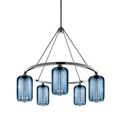 Pod Sapphire Handblown Modern Glass Polished Nickel Chandelier Light