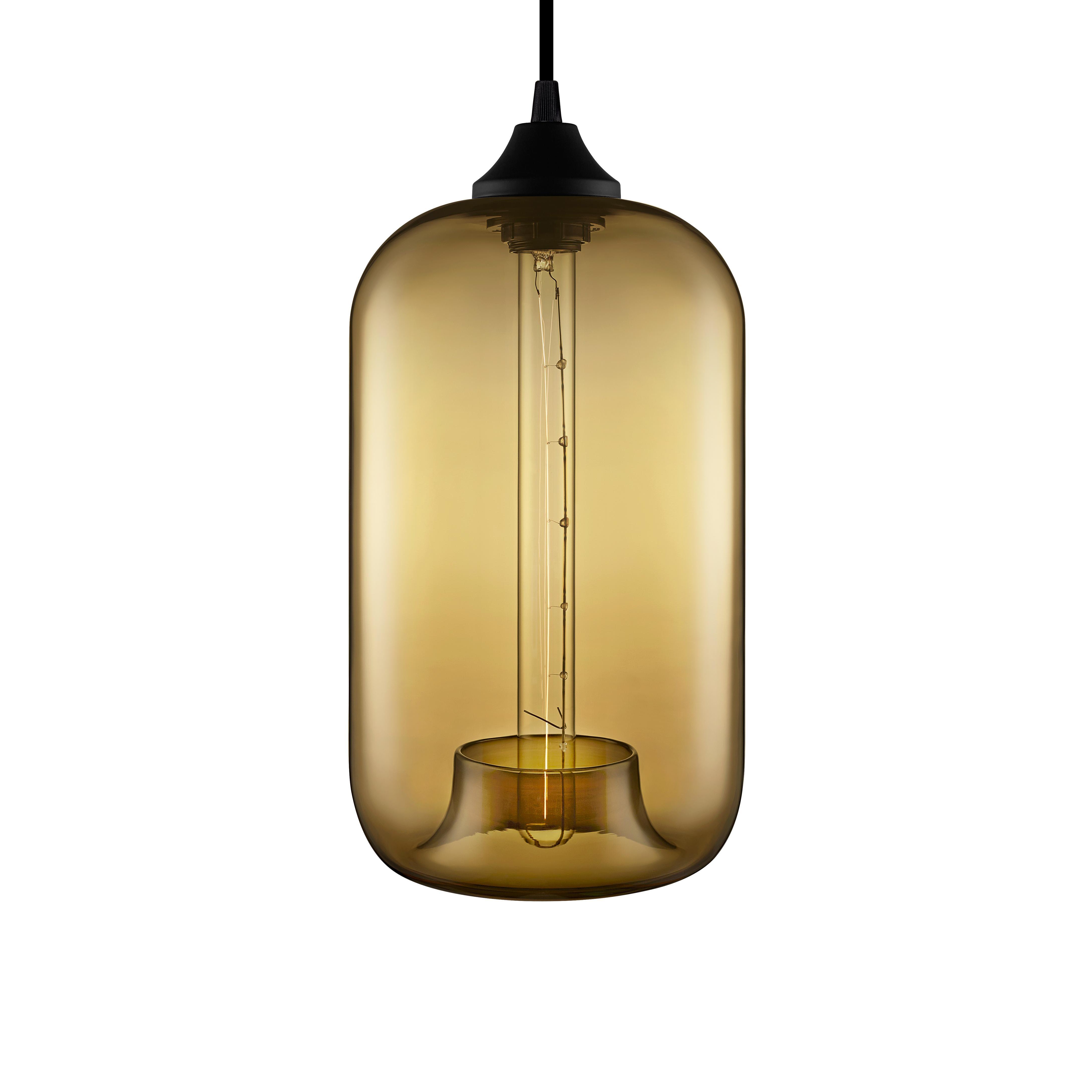 Pod Smoke Handblown Modern Glass Pendant Light, Made in the USA