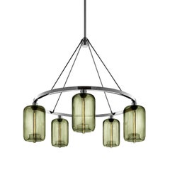 Pod Smoke Handblown Modern Glass Polished Nickel Chandelier Light, Made in USA