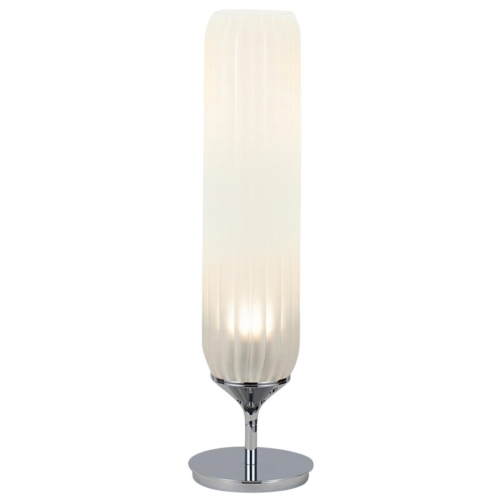 Pod Table Lamp by Tom Kirk in Polished Chrome with Frosted Glass Diffuser