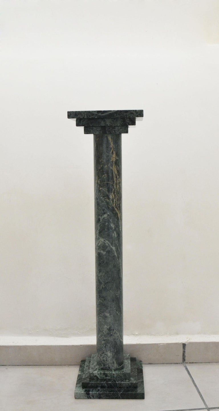 Modern Podium or Column in Antique Green Marble by Element & Co. For Sale