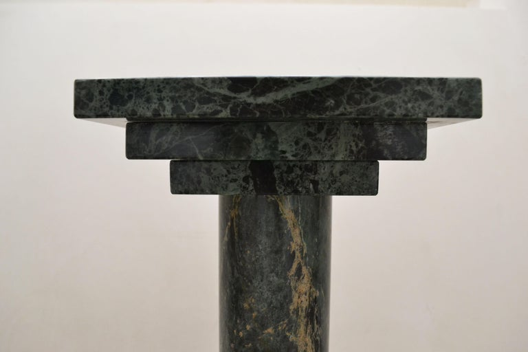 Spanish Podium or Column in Antique Green Marble by Element & Co. For Sale