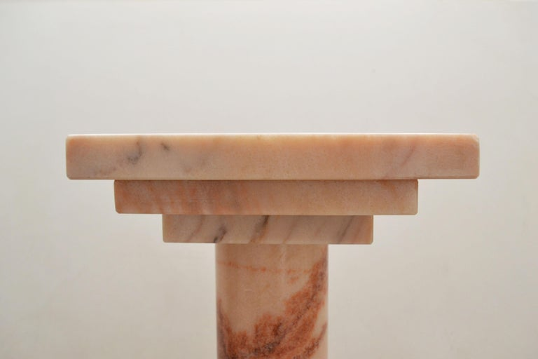 Spanish Podium or Column in Portuguese Rose Marble by Element & Co. For Sale