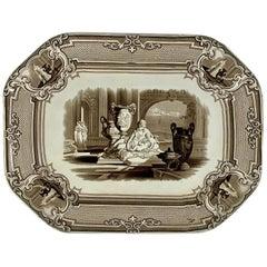 Podmore Walker Staffordshire Minerva Mythology Sepia Brown Transferware Platter