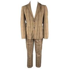 PODOLL Size M Brown Plaid Cotton Blend Peak Lapel Suit