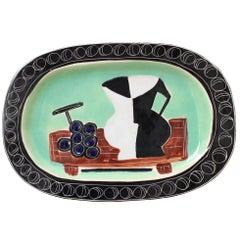 Poet-Laval Decorative Ceramic Platter by Jacques Pouchain, France circa 1950s