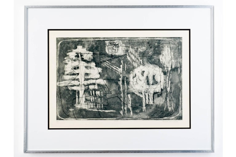 Louise Nevelson (1899 – 1988)  A beautiful and poetic black, white, and grey etching with aquatint by Louise Nevelson. Beloved for her monochromatic wood wall assemblages, Nevelson actively pursued printmaking in the 1950's and 60's during a period