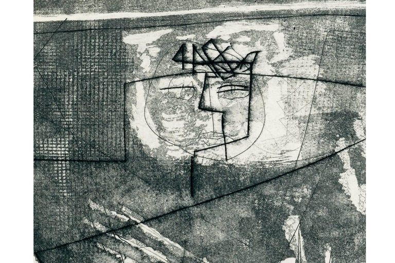 American Louise Nevelson, Limited Edition Poetic Black and Grey Etching with Aquatint  For Sale