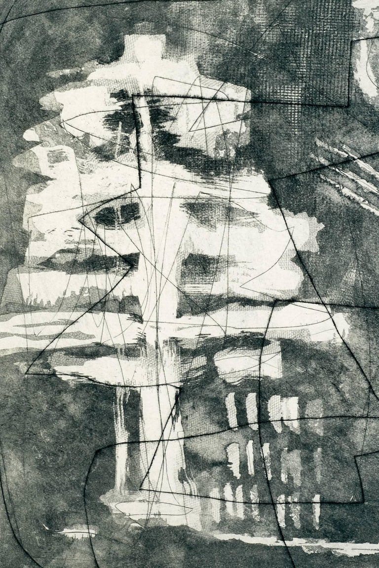 Etched Louise Nevelson, Limited Edition Poetic Black and Grey Etching with Aquatint  For Sale