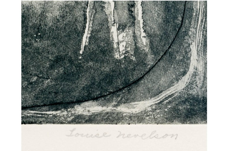 20th Century Louise Nevelson, Limited Edition Poetic Black and Grey Etching with Aquatint  For Sale