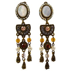 Poggi Paris Gold Tone Crystal Mother of Pearl Drop Clip On Earrings