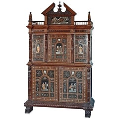 Pogliani, Cabinet in Two Parts, Inlaid and Inlaid with Ebony